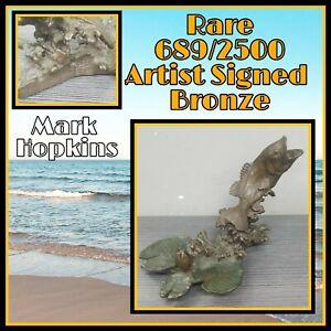 Mark Hopkins Bass lilly pads Fish Bronze Sculpture statue Fishing art Bass