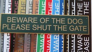 280 x 60 x 1.5mm   BEWARE OF THE DOG PLEASE SHUT THE GATE Acrylic sign
