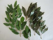 New listing Mixed Lot of Artificial Fabric Oval Shaped Green Leaves & Stems Floral Crafts