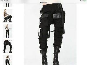 Dolls Kill Combat Cargo Trousers Black Unisex Size XL New