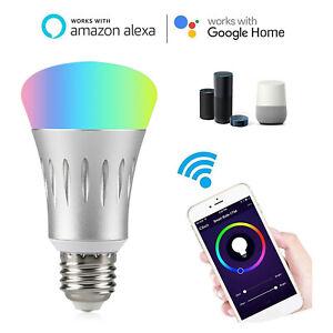 1X 2X 7W E27 Wifi Smart LED Light Bulb Work with Amazon Alexa RGB Remote Control