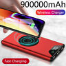 Qi Wireless Power Bank 900000mAh 2 USB Portable Backup External Battery Charger