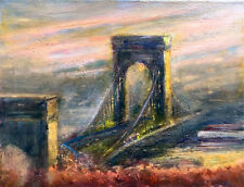 Brooklyn Bridge, New York City 11x14 in. Original Oil on canvas  Hall Groat Sr.