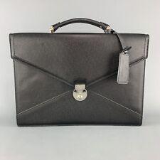 LANCEL Black Textured Leather Envelope Briefcase