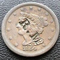 1854 Braided Hair Half Cent 1/2 Cent High Grade Counterstamped R.M. XF AU #19722