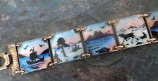 Attractive Norwegian Sterling Silver Enamel Scenic Bracelet - Nils Elvik Norway