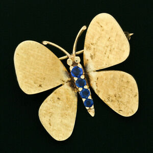 Vintage 14k Gold 0.40ctw Old Round Blue Sapphire Florentine Butterfly Brooch Pin
