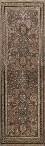 Antique Pre-1900 Geometric Mahal Hand-knotted Runner Rug Traditional Carpet 3x10