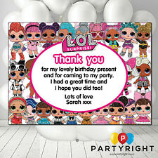 Personalised Pink Dolls Kids Birthday Party Thank You Cards (S2) Pack of 10