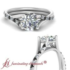 Round Cut White And Black Diamond Twisted Cathedral Engagement Ring 0.90 Carat