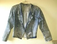 Vtg Nice Patriotic MARILYN Jean Size M Jacket Stone Washed Sequin Accents Eagle