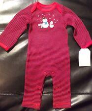 NWT Infant Girls Boys Baby B'gosh LS Bodysuit 5-8 lbs Red 1pc Newborn Snowman