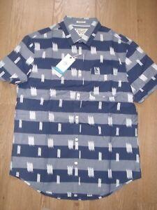 Original Penguin Short Sleeve Blue White Pattern Stripe Heritage Slim Shirt M