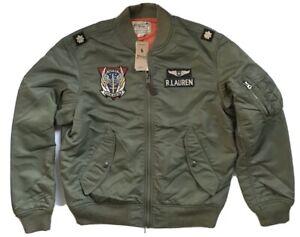 Polo Ralph Lauren Military Pilot Army Twill Bomber Jacket Medium Air Force NWT