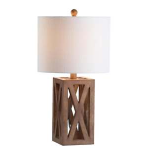 Wooden Table Lamp Freestanding LED Night Light Home Bedroom Living Room Use 22In