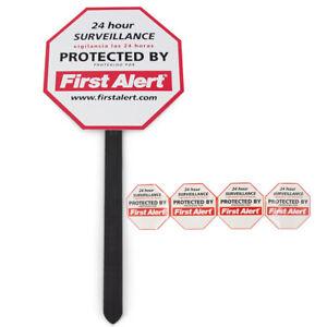 5pc First Alert Security Surveillance Yard Sign Window Stickers Warn Trespassers