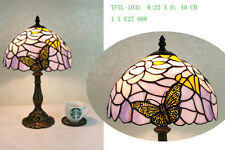 """Beautifully Flowery Dragonfly designed Tiffany Style Table Lamp 10"""""""