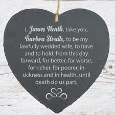 Personalised Husband Wife Wedding Vow Large Heart Slate SLA210-12