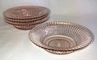"""4 Anchor Hocking QUEEN MARY PINK *6"""" FLARED CEREAL BOWLS*"""