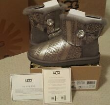 UGG AUSTRALIA MINI BAILEY BUTTON BLING GREY - Sz 7 US, Orig $195, Auth, Preowned