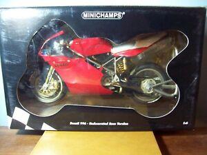 1/6 MINICHAMPS 062 011200 DUCATI 996 UNDECORATED RACE VERSION BIKE IS 30cm LONG