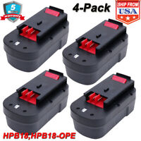 4 New 18V for Black & Decker HPB18 HPB18-OPE Replacement Battery 244760-00 A1718