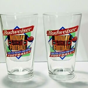 Lot of 2 Budweiser Monday Night Football Beer Glasses Are You Ready For Some FB