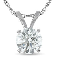.75ct Round Cut Diamond Solitaire Pendant Necklace in 14k White or Yellow Gold