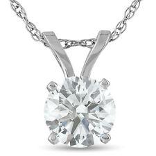 Corte redondo .75ct Colar Pingente Solitário De Diamante Em 14k Branco Ou Amarelo Ouro