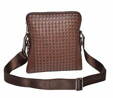 TOP Quality LEATHER Crossbody Bag Brown Unique Braided Cross Work Flight Bag NEW