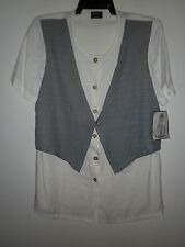 Impressions Ladies Vintage Top in a Black and White Fabric Size 12 NWTO