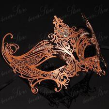 Womens Royal Queen Filigree Laser-Cut Metal Venetian Masquerade Mask [Rose Gold]