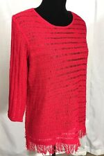 Chicos Womens Knit Top Size 2 (L) Red Blouse Sweater 3/4 Sleeve Fringe Hem