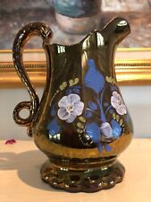 ANTIQUE  COPPER LUSTER WARE PITCHER Staffordshire VICTORIAN Floral Swan Handle