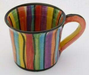 MARY ROSE YOUNG Studio Pottery Striped Coffee Espresso Cup Mug 1993 #20