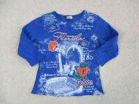 VINTAGE Florida Gators Shirt Womens Medium Blue Orange UF Football Ladies 90s