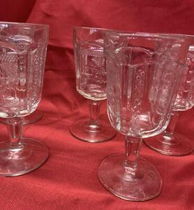 Water Goblet (1 single), Deer & Pine Tree by MCKEE 1886 - American EAPG Glass