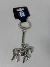 """NEW Silver Horse & Tiny Bell Solid Metal KEYCHAIN Key Ring Chain Clip 3.25"""" NWT!"""