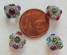 8 perles 8mm strass support métal argenté strass multicolores DIY Bijoux Loisirs