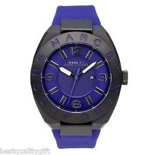 NEW MARC JACOBS ROYAL BLUE SILICONE BAND,PRISM DIAL BLACK STEEL WATCH-MBM5518