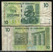 ZIMBABWE 10 DOLLARS P67 2007 REPLACEMENT ZA PREFIX AFRIAC TRACTOR MONEY BANKNOTE