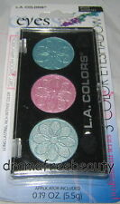L.A. Colors 3 Color Eyeshadow Trio *Water Lily* Icy Blue Pink Shimmer Bn &Sealed