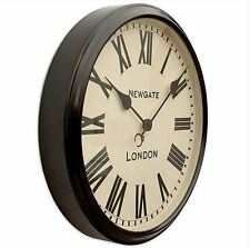 EXTRA LARGE Newgate Station Black Shabby Chic Retro Kitchen Vintage Wall Clock