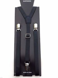 NEW Punk Skinny Black Leather Vintage SUSPENDERS SUPER NARROW 1/2 ""