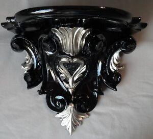 Console Muro Barocco Nero Argento 29x25 Mensole Antico Consolle Specchio