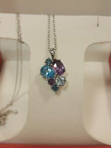 Sterling Silver Amethyst, Blue Topaz, White Saphire Cluster Necklace $200