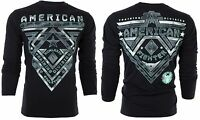 AMERICAN FIGHTER Men LONG SLEEVE T-Shirt CROSSROADS Athletic BLACK Biker UFC $54