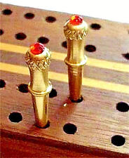 """2-ChristyMade Cribbage Pegs, Brass """"Glowing Crown-Top"""" With Velvet Bag, USA a"""