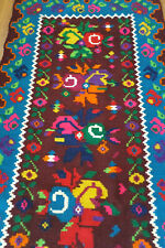 magique tapis kilim roumain Moldavie / Bessarabian Romanian folk rug 89X195 cm