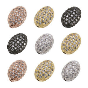 10pcs Brass Paved Cubic Zirconia Metal Beads Oval Random Color Loose Spacer 10mm